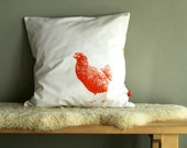 Handprinted orange hen pillow cover recycled