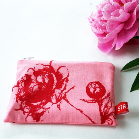 Handprinted pouch with peony