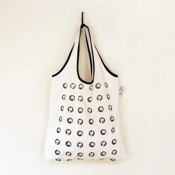 Handprinted tote with cats and dogs