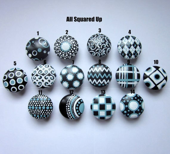 Set of 4- Black-White-Aqua Blue Round Drawer Knobs-Mix 'N Match-You choose which designs