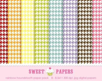 Rainbow Houndstooth Digital Paper Pack - Commercial or Personal Use - by Sweet Papers