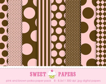 Pink and Brown Polka Digital Paper Pack - Commercial and Personal Use - by Sweet Papers