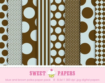 Blue and Brown Polka Digital Paper Pack - Commercial or Personal Use - by Sweet Papers
