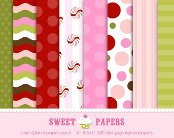 Candyland Digital Paper Pack - Commercial or Personal Use - by Sweet Papers