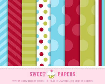 Winter Berry Digital Paper Pack - Commercial or Personal Use - by Sweet Papers