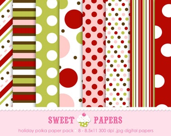 Holiday Polka Digital Paper Pack - Commercial or Personal Use - by Sweet Papers