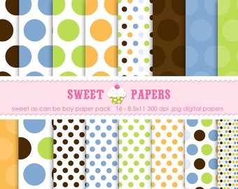Sweet As Can Be Boy Digital Paper Pack - Commercial or Personal Use - by Sweet Papers