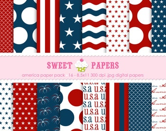 USA Digital Paper Pack - Commercial or Personal Use - by Sweet Papers