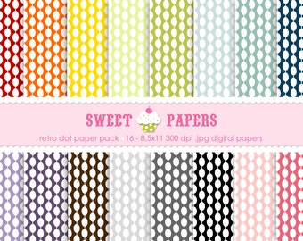 Retro Dot Digital Paper Pack - Commercial or Personal Use - by Sweet Papers