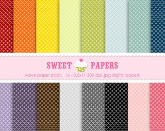 Scallop Digital Paper Pack - Commercial or Personal Use -  by Sweet Papers