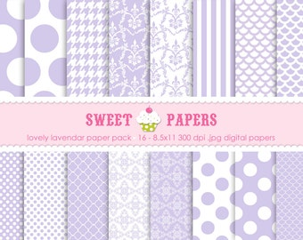 Lovely Lavendar Digital Paper Pack - Personal or Commercial Use - by Sweet Papers