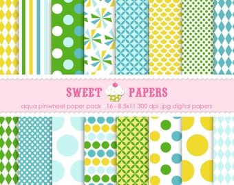 Aqua Pinwheel Digital Paper Pack - Commercial or Personal Use - by Sweet Papers