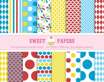 Red Pinwheel Digital Paper Pack - Commercial or Personal Use - by Sweet Papers