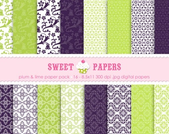 Plum and Lime Digital Paper Pack - Commercial or Personal Use - by Sweet Papers