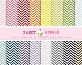 Chevron Digital Paper Pack - Commercial or Personal Use - by Sweet Papers