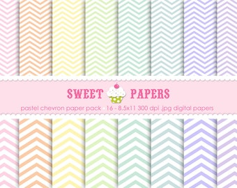 Pastel Chevron Digital Paper Pack - Commercial or Personal Use - by Sweet Papers