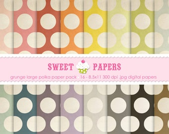 Buy 2 Get 1 Free - Grunge Large Polka Digital Paper Pack - Commercial and Personal Use - by Sweet Papers
