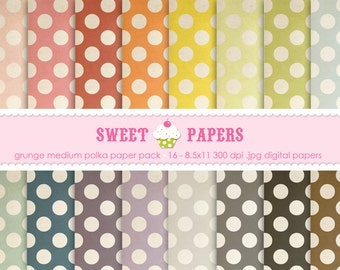 Grunge Medium Polka Digital Paper Pack - Commercial or Personal Use - by Sweet Papers