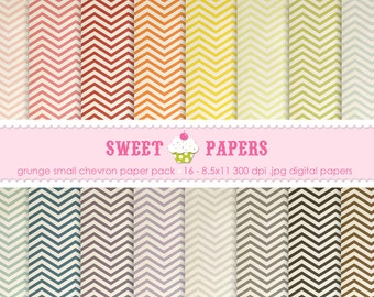 Small Grunge Chevron Digital Paper Pack - from Sweet Papers
