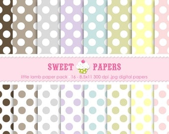 Little Lamb Polka Digital Paper Pack - Commercial or Personal Use - from Sweet Papers