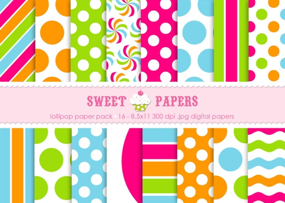 Lollipop Digital Paper Pack - Personal or Commercial Use - by Sweet Papers