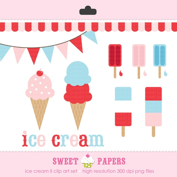 Ice Cream II Digital Clip Art Set - Commercial and Personal Use - from Sweet Papers