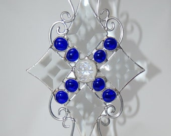 Filigree Suncatcher, Clear Bevels and Blue Nuggets