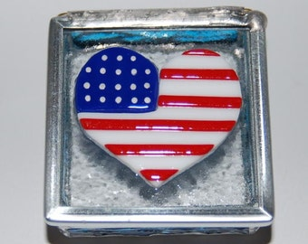 Heart Flag Stained Glass Trinket Box