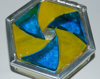 Hexagon Stained Glass Trinket Box