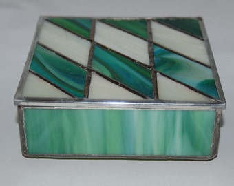 Slanted Diamonds Stained Glass Box in Green and Cream