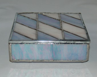 Slanted Diamonds Stained Glass Box in Lavender and Cream