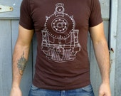 Graphic T Shirt - Men's Train Tshirt - Brown Cotton American Apparel S/M/L/Xl