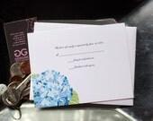 RSVP Hydrangea Customizable Flat  Responce Card