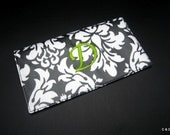 Laminated Cotton and Monogrammed Checkbook Cover - Black Damask with Green