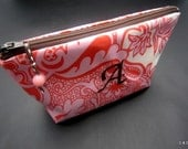 Monogrammed Waterproof Cosmetic Case - Salmon Pink and Chocolate Brown