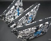 3 Cosmetic Cases - Make up Bags - Monogrammed and Wipeable for Bridesmaids - You pick the fabric and Monogram Colors