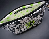 Cosmetic Case - Make Up Bag - Monogrammed and Waterproof Black Damask with Green Polka Dots