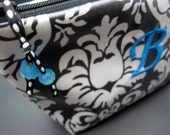 Cosmetic Case Monogrammed and Waterproof - Black Damask with Aqua Accents (free monogrammed initial)