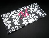 Checkbook Cover - Monogrammed Wipeable Laminated Cotton - Black Damask with Pink