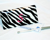 Checkbook Cover - Monogrammed Wipeable Laminated Cotton - Zebra Print with Pink