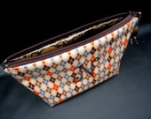 Cosmetic Case - Make Up Bag - Monogrammed and Waterproof Chocolate Brown Argyle
