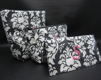 Cosmetic bags Gift Set - Make up Cases and Checkbook Cover  - Monogrammed and Wipeable - 1 letter monogram included