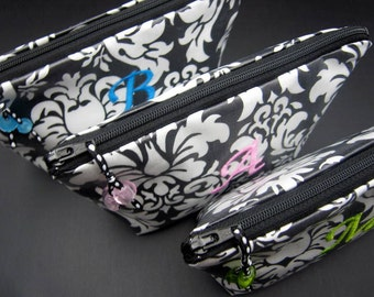 6 Makeup Bags - Cosmetic Bags for Bridesmaids - Wipeable and Monogrammed - pick your colors