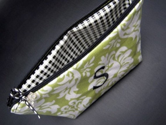 Custom order for Melanie - Monogrammed Waterproof Cosmetic Case -Green Damask with Black accents