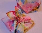 Fabulous floral furoshiki gift set - pink & blue