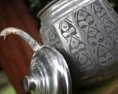 Turkish teapot silver beautiful carved details original lid