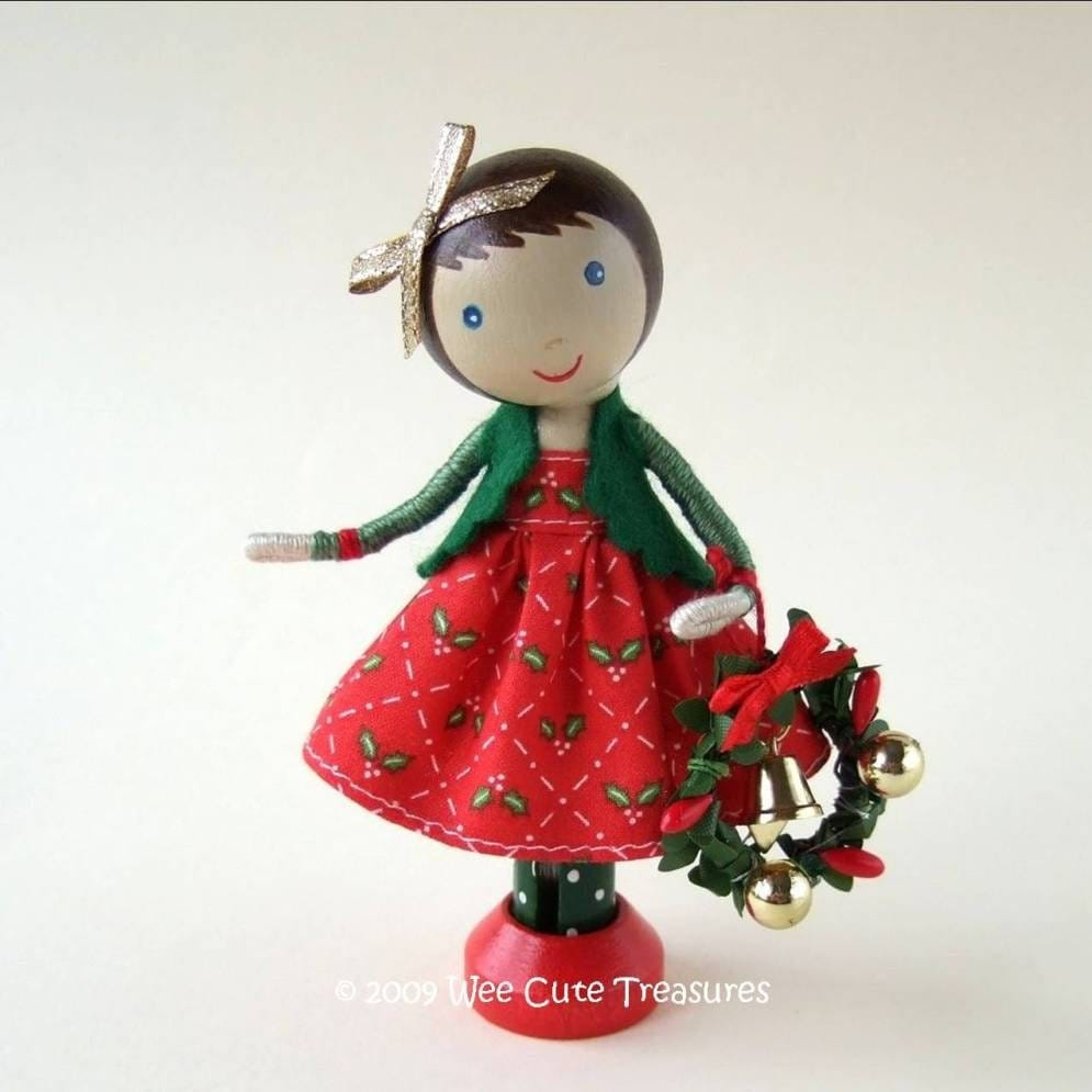 Christmas Clothespin Doll with Tiny Wreath by WeeCuteTreasures