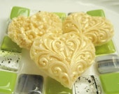 Gold Heart Shaped Soaps -  Six Shimmery Gift Boxed Soap Hearts - Hostess Gift
