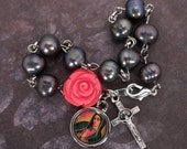 virgen de guadalupe peacock pearl and coral rose single decade rosary bracelet on silver
