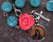 mlgigg - RESERVED virgen de guadalupe turquoise and coral pink rose single decade rosary bracelet on silver